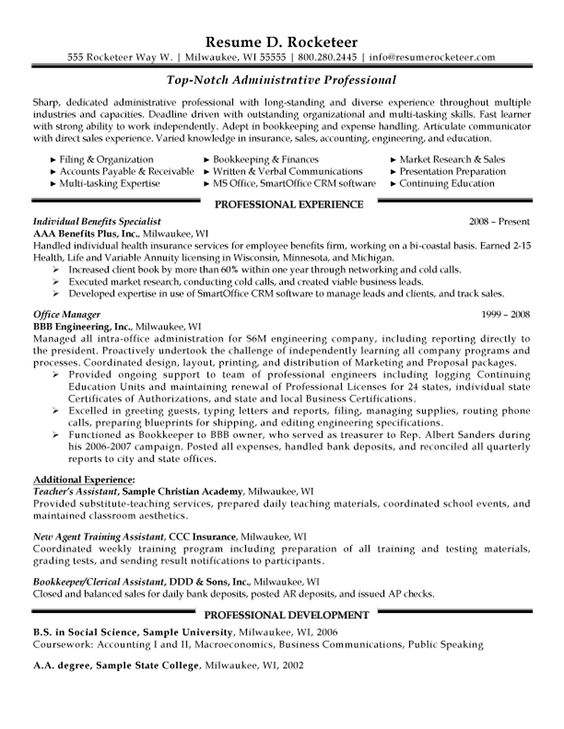 Administrative Professional Resume Example | Resumes | Pinterest