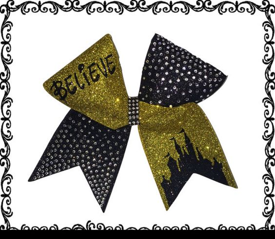 Believe Castle Ombre Rhinestone Cheer Bow