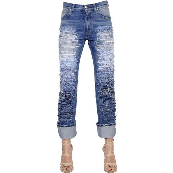 ALEXANDER MCQUEEN Destroyed Cotton Denim Jeans (€1.920) ❤ liked on Polyvore featuring jeans, blue, torn jeans, ripped jeans, faded blue jeans, alexander mcqueen and patching blue jeans