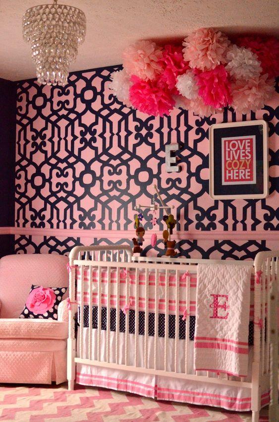 Pink + Navy Nursery - we love the navy walls and fun wallpaper accent wall! #nursery #pinkandnavy