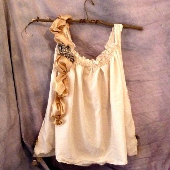 Womens Blouse Teddy Bear Picnic Top Eco Cotton Silk Doily Shirt Custom Made Tattered. $120.00, via Etsy.