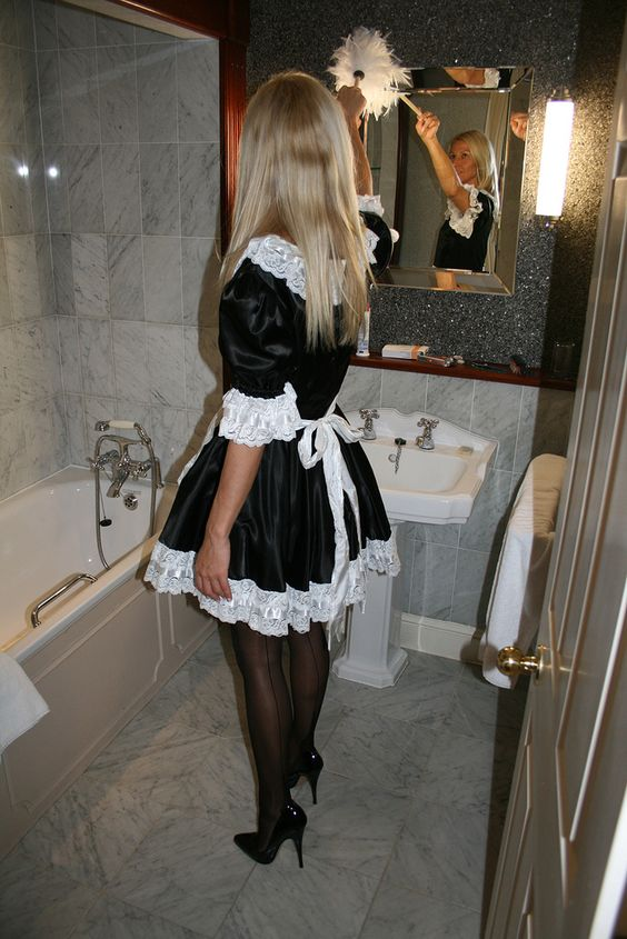 Satin French Maid Black Stockings and Black High Heels ...