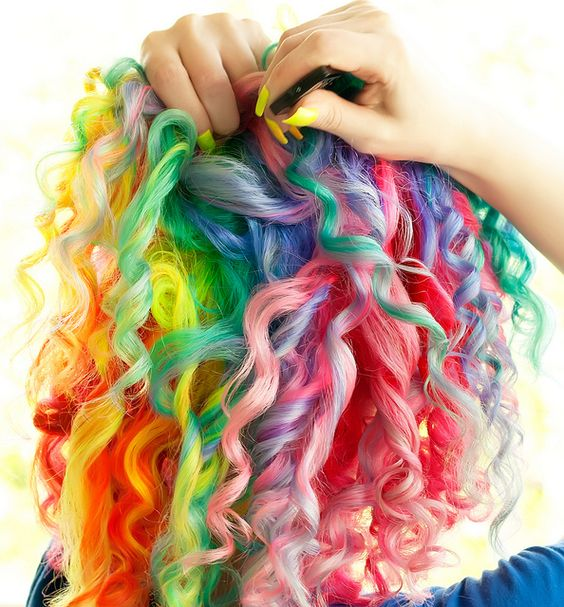 omggg: Curly Rainbow, Colored Hair, Colorful Hair, Haircolor, Hairstyle, Hair Style, Hair Color, Curly Hair