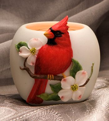 Ibis & Orchid Cardinal on Dogwood Votive