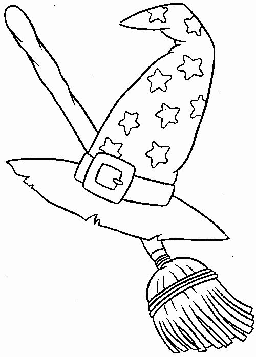 Witch Hat Coloring Page Beautiful Witch S Hat And Broom Halloween Coloring Book Halloween Drawings Halloween Coloring