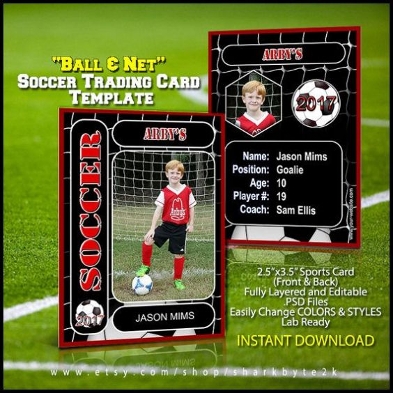 Soccer Trading Card Template In 2021 Trading Card Template Football Template Player Card