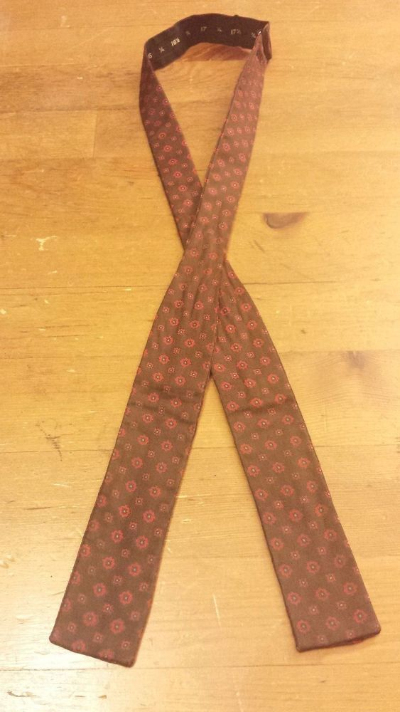 "Silk, Brown/Red, Geometric Print, Adjustable Bow Tie (1-3/8"") #BowTie"
