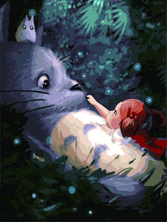 Barato Meu Vizinho Totoro pintura por números casa decoração arte da parede…