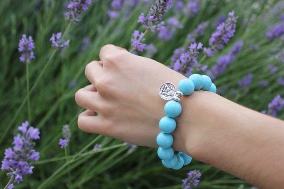 Avenio turquoise bracelet with silver charm
