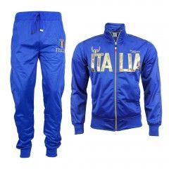 Trainingspak Italia glans blauw / goud m€39,95 gratis verzenden  Mooie Italia trainings pak met een glansende stof in de kleur blauw met gouden accenten.  Ook in zwart met goud en wit met goud. Ook los (broek of jas) verkrijgbaar.  Merk: Desierto Kleur: Blauw, Goud Materiaal: 35% Katoen, 65% Polyester Bijzonderheden: Gevoerd van binnen Maten: S, M, L, XL, XXL