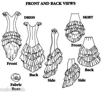 Bonnie's Pattern Shop - Folkwear 140 Flamenco Dress, Practice Skirt, Salsa, Ballroom Sewing Pattern 6-24