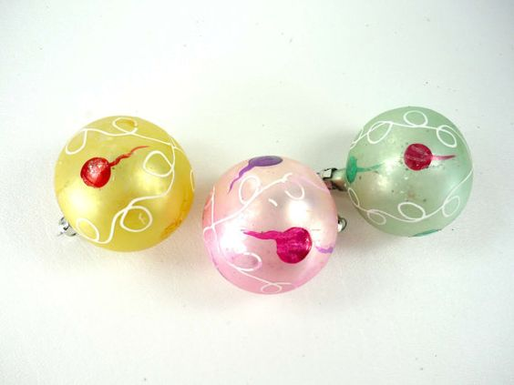 Vintage Christmas Ornaments Set of 3 Hand Painted by ChromaticWit