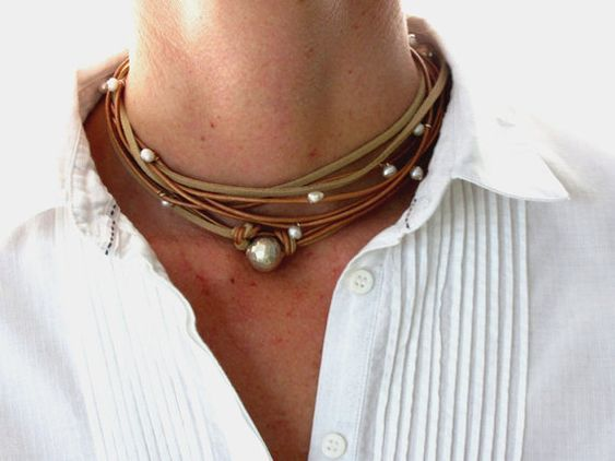 Leder Halskette. Sterlingsilber Jewlelry Boho Chic-Stil. Ich kombiniere Leder mit Luxus-Elementen Qualität Zubehör einfach zu jedem Zeitpunkt des