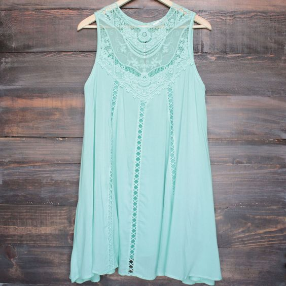 mint boho crochet lace dress - shophearts - 1