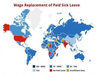 This infographic shows how the U.S. rates against the rest of the world in terms of mandatory paid sick leave for workers - clearly we are behind. Learn how #WomenEmployed is working to pass paid sick time legislation at www.womenemployed.org