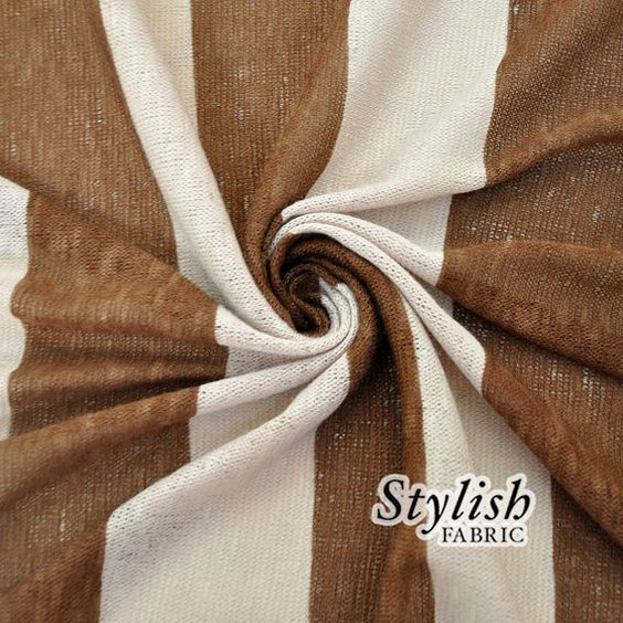 Brown Mocha Brulle Stripes Sweater Knit Fabric  1 by StylishFabric cardigan
