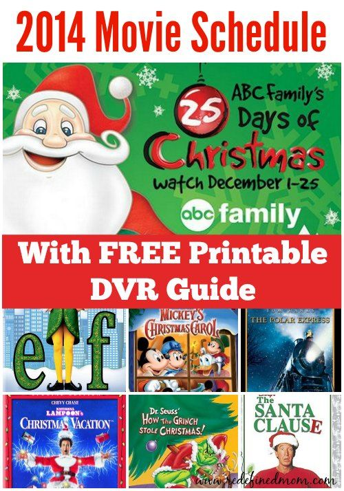 here is the 2014 abc family 25 days of christmas movie schedule - Abc Family 25 Days Of Christmas Schedule