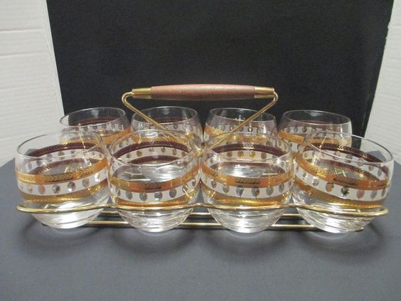 8 Mid Century Roly Poly Glasses Gold Wheat Design In Brass and Wood Carrier