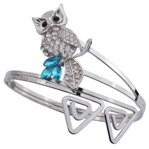 Yazilind Jewelry Attractive Owl With Crystal Arm Bangle Bracelet Vintage Alloy Punk Style for Women