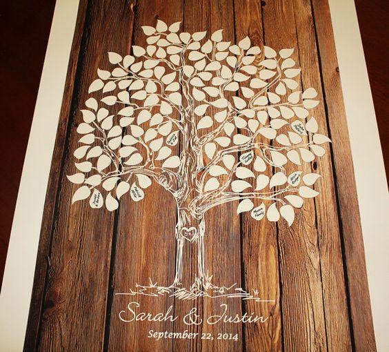 Guest Book Baum Holz Hochzeit Baum Gästebuch von fancyprints