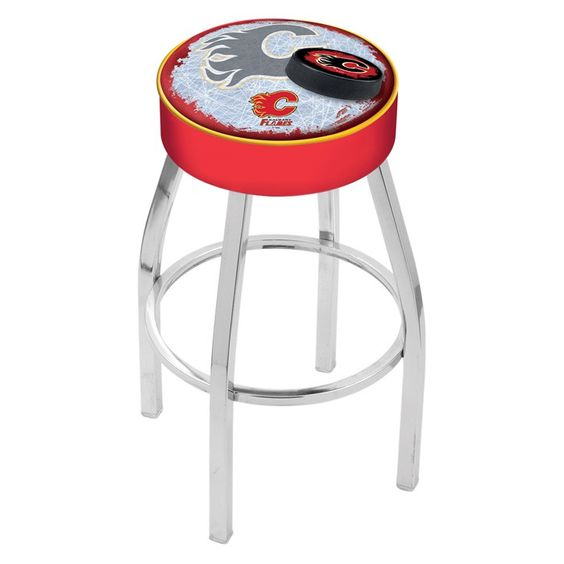 Calgary Flames NHL D2 Chrome Bar Stool. Available in 25-inch and 30-inch seat heights. Visit SportsFansPlus.com for details.