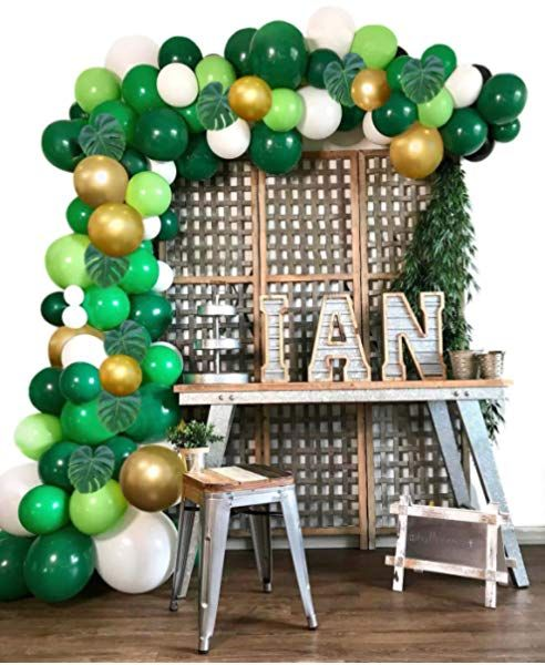 Nogjks Jungle Theme Party Supplies Balloon Garland Arch Kit Summer Tropical Party 169pcs Gold Green Ballo In 2020 Balloon Garland Diy Balloon Garland Jungle Balloons