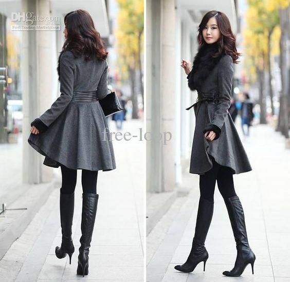 Womens coats ladies fur collar long wool coats Casual overcoat