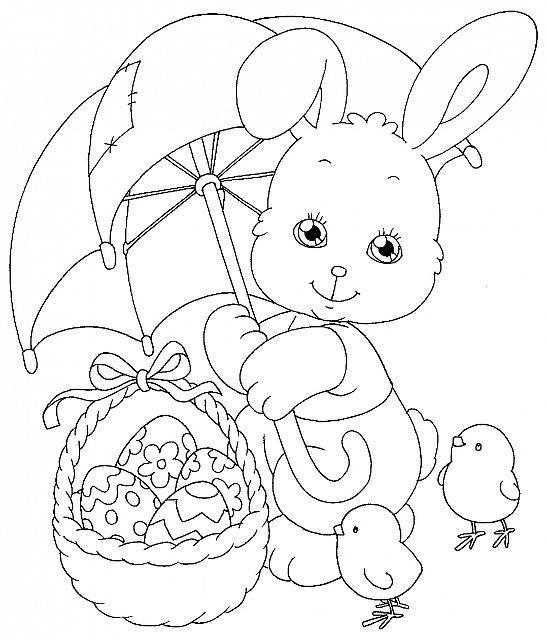 Coniglio E Pulcini Con Uova Di Pasqua Disegno Da Colorare Gratis