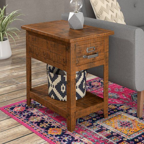Loney Solid Wood End Table Storage End Tables With Storage Wood End Tables End Tables Wood end table with storage