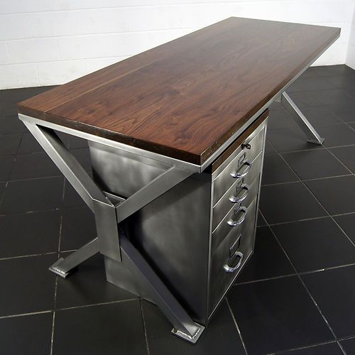 handmade industrial polished metal & walnut office desk retro