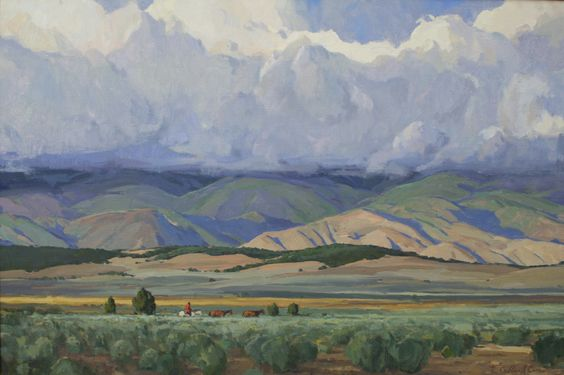 Hanging Clouds and Fresh Sage 24x36 inches, yellowstone, painting, g. russell case, landscape