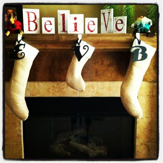 burlap stockings with metal letters from hobby lobby With metal letters for christmas stockings
