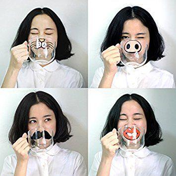 Taza de cristal con dibujos graciosos, varios modelos: gato, cerdo, bigote o boca