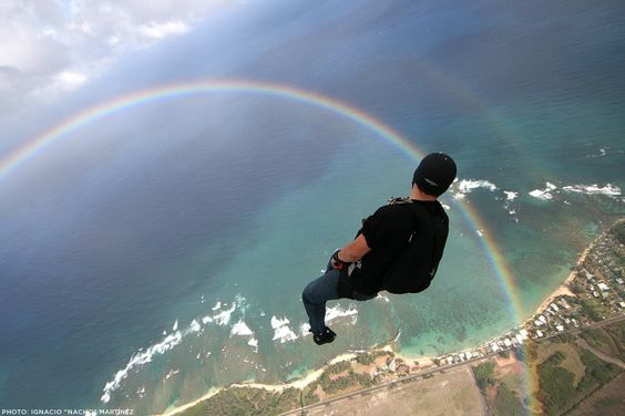 Skydiving into a rainbow!!!!