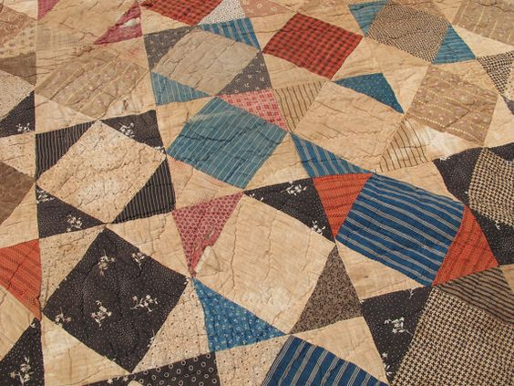 Very Old Patchwork Quilt, Antique Textile, Vintage Calicos, Hand Quilted
