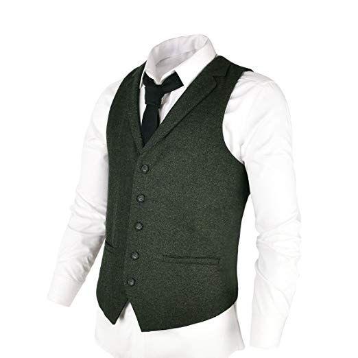VOBOOM Mens Slim Fit Herringbone Tweed Suits Vest Premium Wool Blend Waistcoat