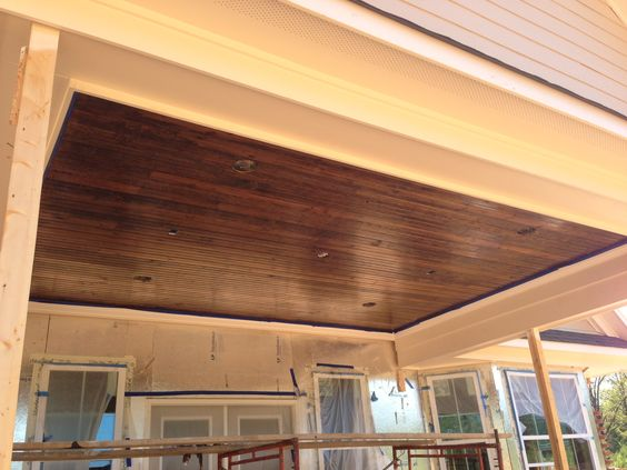 Our Patio Ceiling Tongue Groove Wood With A Dark Stain