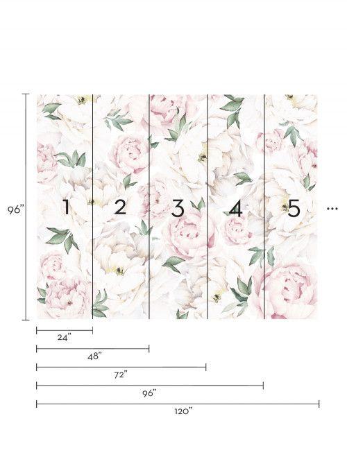 Pink Peony Flower Mural Wall Art Wallpaper 5 Sheet Pack 2ft X 9ft Design Textil Eduarda Design