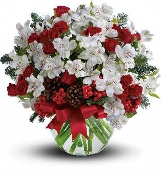 Astromélias brancas e abeto de Douglas são misturados com pinhas e frutas vermelhas em um vaso clara decorado com fita de cetim vermelho.  Fotografia: Teleflora.com.