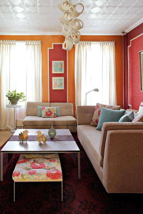 orange living rooms orange living rooms orange pink and ottomans
