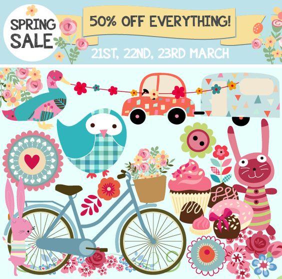 Spring Shop Sale – 50% off Clipart, Vectors, Digital Craft Supplies & PS Brushes