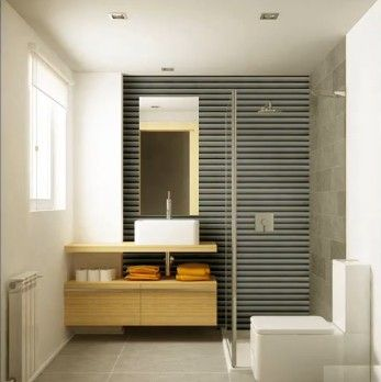 Feature walls bathroom ideas and bath on pinterest for Diseno banos pequenos modernos