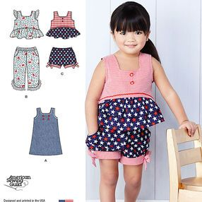 Toddlers' Dress, Top and Cropped Pants or Shorts