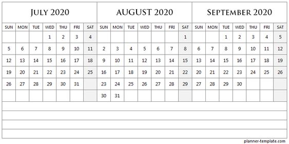 Three Month July to September 2020 Calendar with Notes.