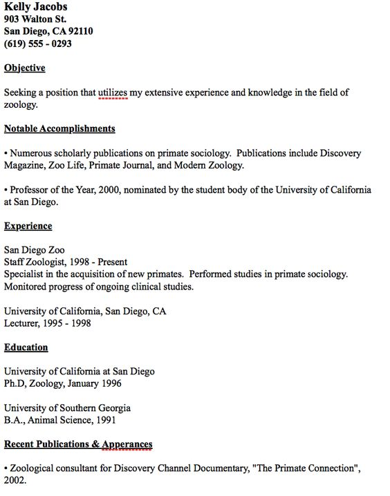 Example Zoology Resume -    resumesdesign example-zoology - resume for childcare