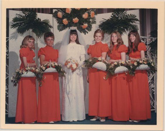 1970-6-5 David & Donna-Rae Coy wedding - loving the basket boquets: