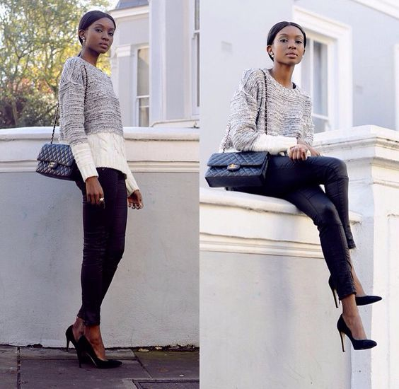 Leather leggins classy outfit.