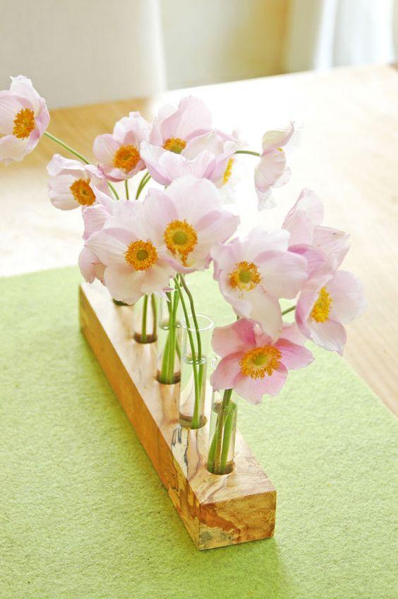 vase fleur en bois et tubes essai beau mariage dcor dcor - Decoration Tube A Essai Mariage