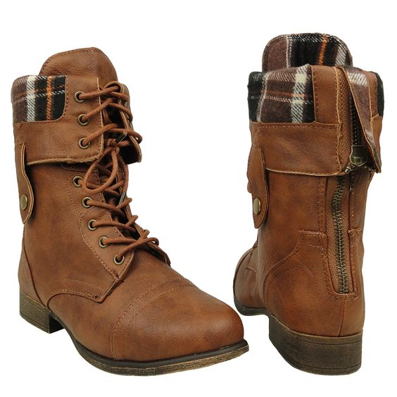 Women's Mid Calf Fold Over Comfort Lace Up Combat Boots US Size 5 ...