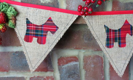 Scottie dog fabric bunting hessian/ burlap/ by myRetrotextiles, £12.50:
